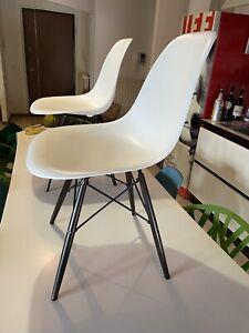 1 Vitra Eames Plastic Chair Dsw Bianca Struttura Mogano