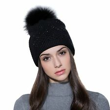 Ferand Ladies Raccoon Fur Pom pom Hat Knitted Crystal Winter Bobble Beanie for