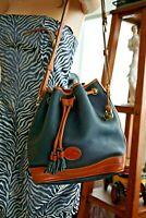 Dooney & Bourke Black British Leather Drawstring Bucket Shoulder Cross-body Bag