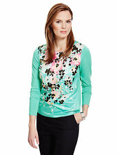 Marks & Spencer Womens Satin Abstract Floral Long Sleeve M&S New Tunic Shirt Top