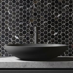 Designer Hexagon Black Marquina Marble Mosaic Tiles Walls Floor Bathroom Kitchen