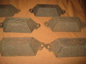"Eight Reclaimed Salvaged Cast Iron Metal Drawer Bin Pull 4""+ Ornate Design"