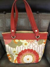 SPARTINA 449 LINEN AND LEATHER TOTE BAG FLORAL TIBI SOLI CORAL
