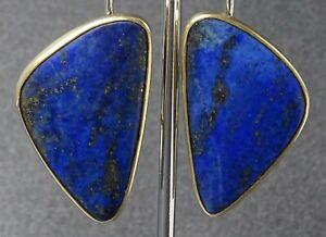 Handmade Lapis Lazuli Stud & Clip Earrings 14ct Yellow Gold Jewelry Pierced Ears