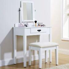 SHAKER DRESSING MAKEUP TABLE SET DRESSER DESK & FABRIC PADDED SEAT STOOL WHITE