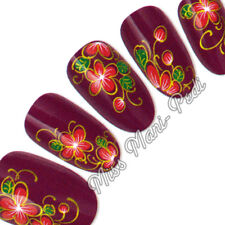 Nail Water Decals, Nail Stickers, Red & Green Flowers with Matt Gold Swirls H040