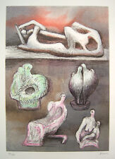 "HENRY MOORE Signed 1981 Original Color Lithograph - ""Five Ideas for Sculpture"""