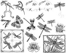Unmounted Rubber Stamps Sheets, Dragonfly, Dragonflies, Frog, Nature, Butterfly