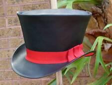 BLACK LEATHER RED VELVET MENS & WOMENS ALICE IN WONDERLAND COSTUME TOP HAT