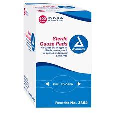 DYNAREX – STERILE GAUZE PAD SPONGES 2x2 12-PLY �� BOX OF 100 PADS – #3352