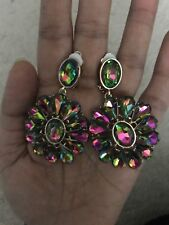 "2.5"" Long Green Pink EmerAld Teardrop Vitrail Austrian Crystal Pageant Earrings"