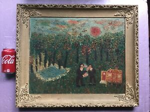 Very interesting vintage primitive painting by Lena Magid  In thick oil paint.