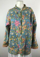 Sam Hilu Classic 100% Cotton Quilted Reversible Jacket Pastel Floral Pockets L
