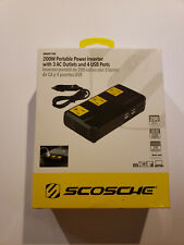 200W Portable Power Inverter with 4 USB ports Black - Scosche