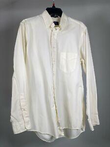 "GANT Cream White Broadcloth Oxford Long Sleeve Button Down Shirt Mens M 16/35"""