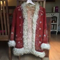 Afghan Red Penny Lane Suede Embroidered Coat, Size S