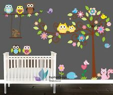 Owl Flower Swing Tree Animals Bird Removable Baby Nursery Wall Mural Sticker Art