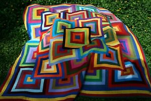 """Hand Made Quilt """"FREE YOUR SCRAPS"""" Design by Quilt-Addicts 82"""" square*"""