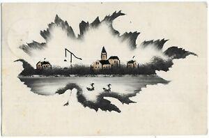 Hand Painted Postcard to Tubize, Belgium 1933, Town, Lake, Ducks, Scott 207
