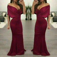 Elegant Women Long Formal Prom Floor Dress Party Gown Off-Shoulder Dress  tops
