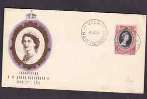 British New Hebrides 1953 FDC 1st day cover QE II coronation uncertain