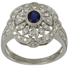Vintage Style Diamond Pave Ring With Blue Sapphire Oval Center