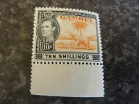 GAMBIA POSTAGE STAMP SG161 TEN SHILLINGS UN-MOUNTED MINT MARGINAL