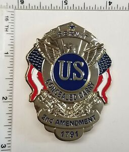 Gold Concealed Carry Badge Permit 2nd Amendment 1791 Pin