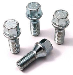 Car wheel bolts nuts lugs M14 x 1.5, 17mm Hex, 28mm thread, taper seat x 4