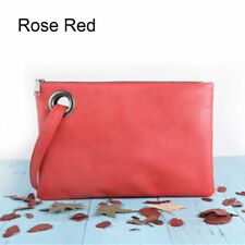 Fashion Women PU Leather Purse Clutch Envelope Shoulder Large Tote Bags Elegant Rose Red