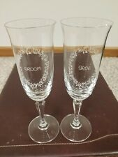 Precious Moments Bride & Groom Champagne Toasting Glasses 24% Leaded Crystal