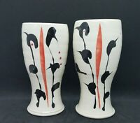 Studio Art Pottery, Abstract, (set of 2) Signed Tumblers or Vases
