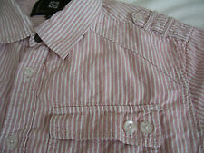 Men's Ocean Current Size Small Casual Button Front LS Shirt Maroon Stripes
