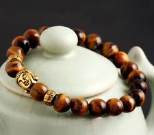 UK Beautiful Tigers Eye Gold Buddha Crystal Gemstone Bead Bracelet.