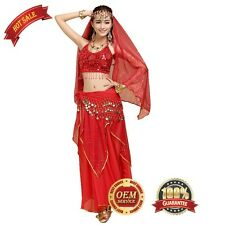Belly Dance Costume Outfit Set Bra Top Skirt Dress Bollywood Carnival 4PCS