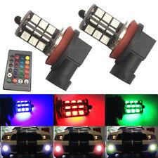 2xH8~H11 5050 27-SMD RGB Lights Bulbs Driving Remote Control Kit  Car LED Fog