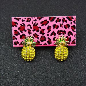 Betsey Johnson Rhinestone Yellow Enamel Pineapple Ear Stud Earrings