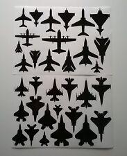 A4 self adhesive Vinyl Jet Aircraft Silhouette Stickers F15 F16 F22 F35 Tornado