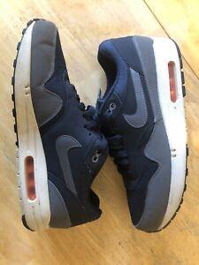 Nike Air Max 1 Essential Dark Obsidan Grey Orange Size 11