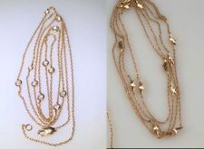 "2 Handmade 18K Yellow Gold Long Chains Diamonds & Gold Leaves 66.75"" Total"
