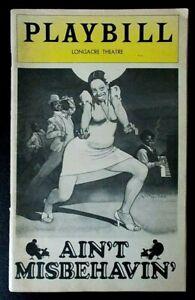 Ain't Misbehavin Playbill programme Longacre Theatre 1978 Nell Carter Ken Page