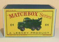 Matchbox Lesney No 64 SCAMMELL BREAK-DOWN TRUCK Empty Repro D style Box