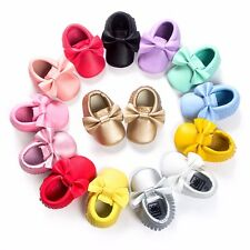 Baby Soft Sole Leather Shoes Infant Girl Toddler anti-slip Moccasin Size 0-18 M