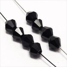 30 Perles Tchèques Toupies en Cristal 6mm Noir