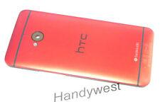 Original HTC One M7 Akkudeckel Gehäuse Backcover Cover Housing Kamera Gals Rot