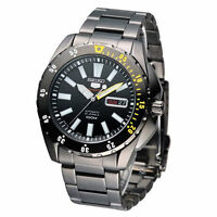 Seiko 5 Automatic Mens Watch Black Ion Plated Japan Made SRP363J1 UK Seller