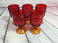 "5 Moon & Stars Water Goblets Amberina Wright Glass Vintage 3 Seam 5.75"" x 3.25"""