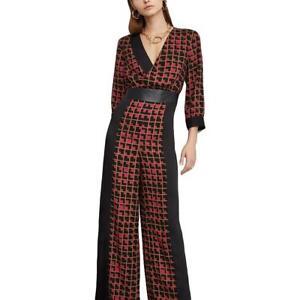 BCBGMAXAZRIA Womens Colorblock Wide Leg Dressy Jumpsuit BHFO 8953