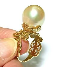 Giant 13.4mm Australian South Sea Natural Round Pale Gold Pearl Ring Size 7 - 8