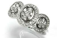 1 ctw Natural Diamond 14k White Gold 3 Flower Wedding Anniversary Halo Band Ring